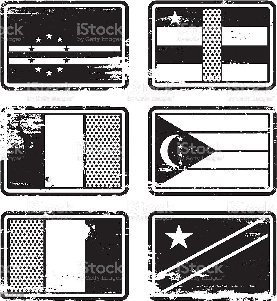 Rubber Stamp Flags vector art illustration
