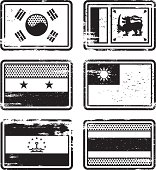 Rubber Stamp Flags - Asia. South Korea, Sri Lanka, Syria, Taiwan, Tajikistan and Thailand