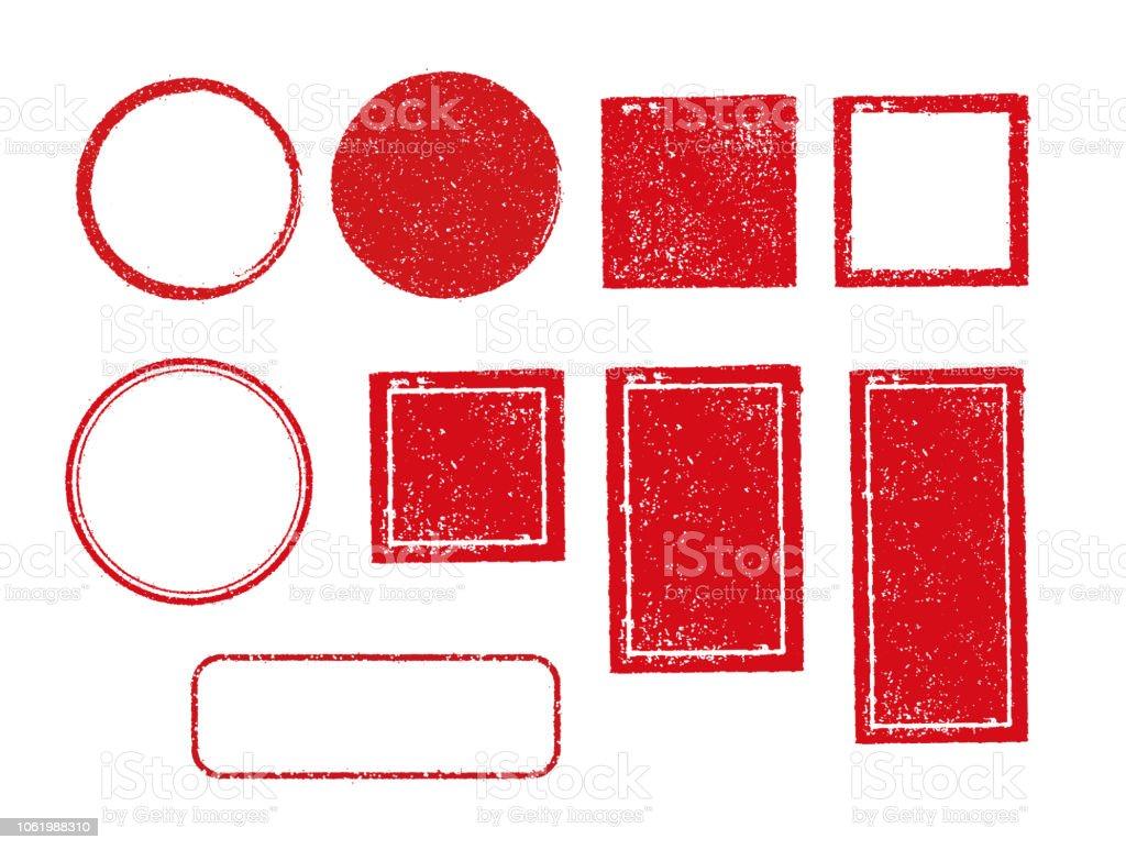 tampon cadre défini (carré, cercle, rectangle, etc.) - Illustration vectorielle