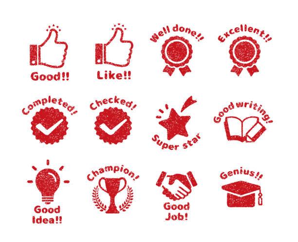 illustrazioni stock, clip art, cartoni animati e icone di tendenza di rubber stamp icon set (for teachers using at school) - sigillo timbro
