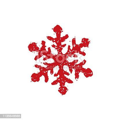 istock rubber stamp icon (snow ,winter , snowflake) 1135648565