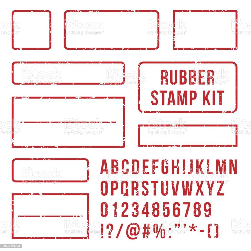 Carimbo de borracha letras. Vermelho selos símbolos frame e tipografia com números de fonte. Marca kit vector conjunto - Vetor de Antigo royalty-free