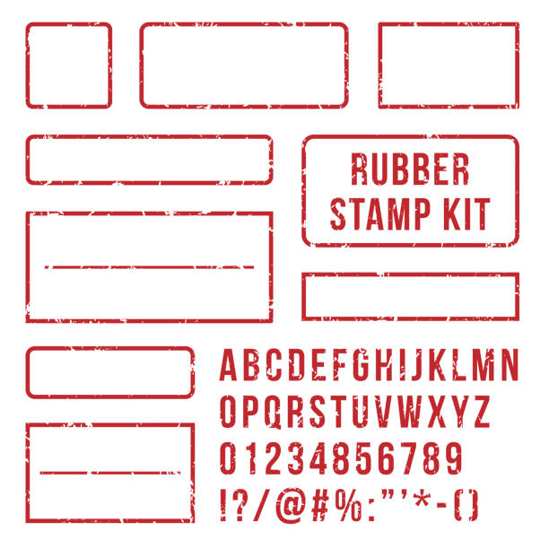Rubber stamp letters. Red stamps frame and letterpress symbols with font numbers. Marks kit vector set Rubber stamp letters. Red stamps frame and rubber letterpress symbols with font alphabet numbers. Marks kit customizable text buffer grunge vector isolated icons set passing giving stock illustrations