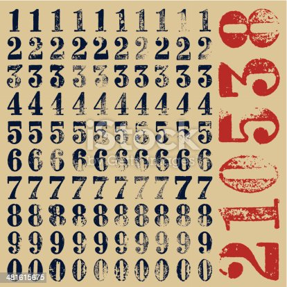 Rubber stamp serif numbers: ten alternatives for each type