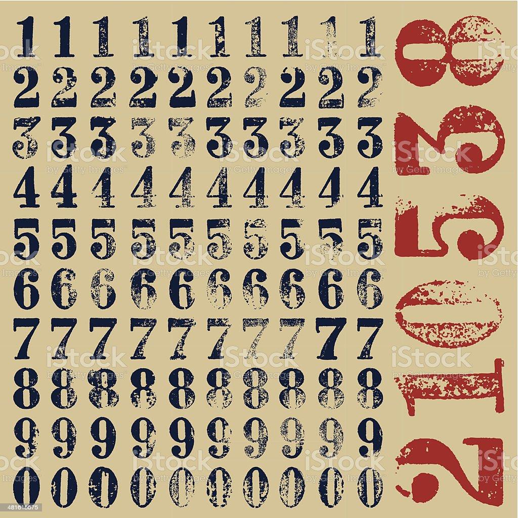 rubber stamp serif numbers vector art illustration
