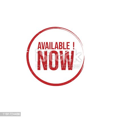 istock AVAILABLE NOW Rubber Stamp vector 1191724456