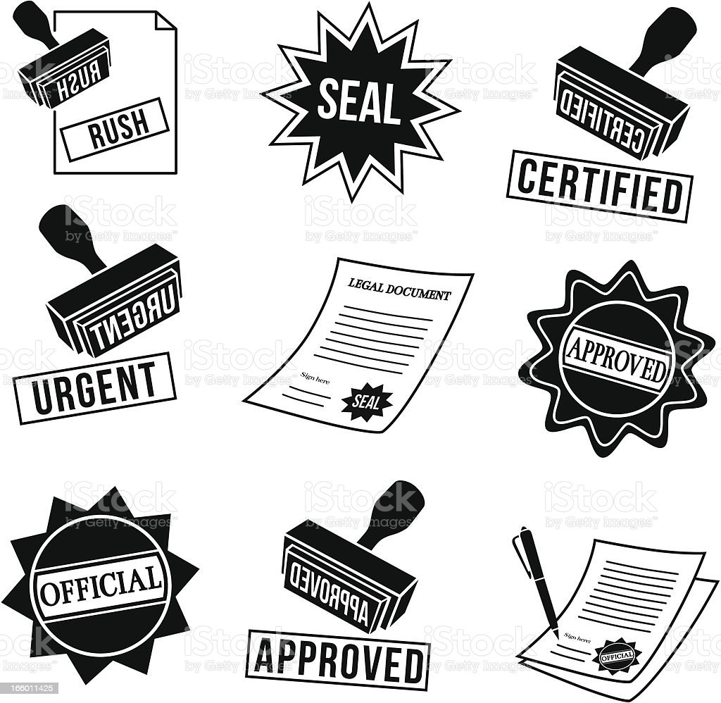 rubber stamps and seals vector art illustration