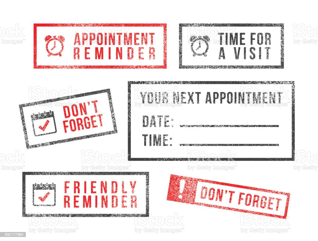 Rubber stamps appointment reminder scheduling vector art illustration