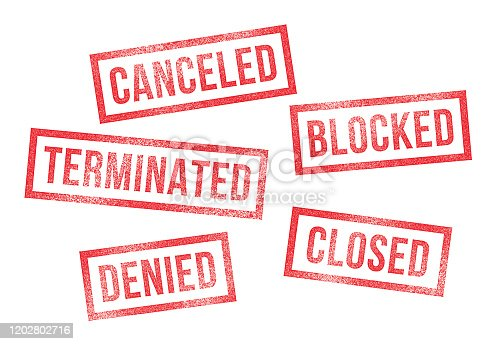 Rubber Stamps Canceled Denied Closed Terminated Blocked. Contract, employment, account rubber stamps.