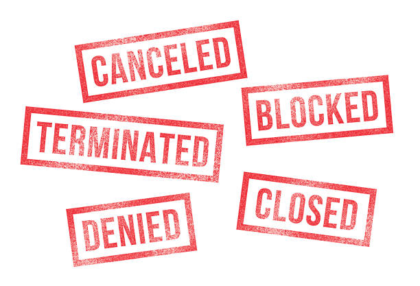 Rubber Stamps Canceled Denied Closed Terminated Blocked vector art illustration