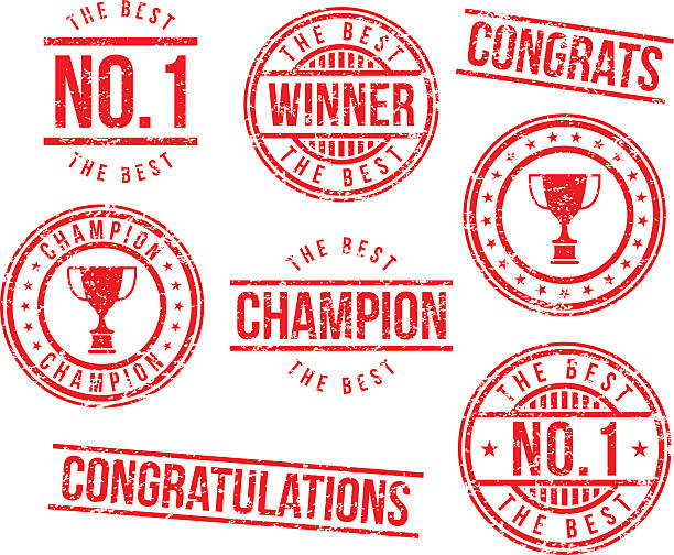 Rubber stamps - champion vector art illustration