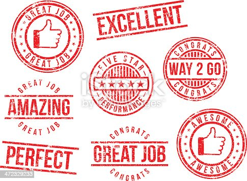 istock Rubber stamps - great job 472329233