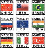 Rubber stamps (made in China, USA, Brasil, Russia, EU, India, Germany, Italy, Turkey).