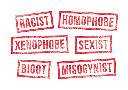 Rubber Stamps Racism Bigotry Discrimination Intolerance