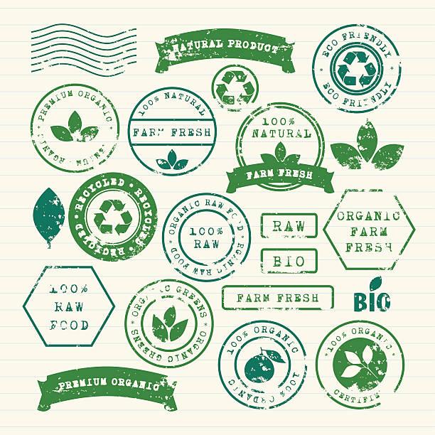 ilustraciones, imágenes clip art, dibujos animados e iconos de stock de conjunto de sellos de goma, de la ecología, comida saludable y medio ambiente - comida cruda