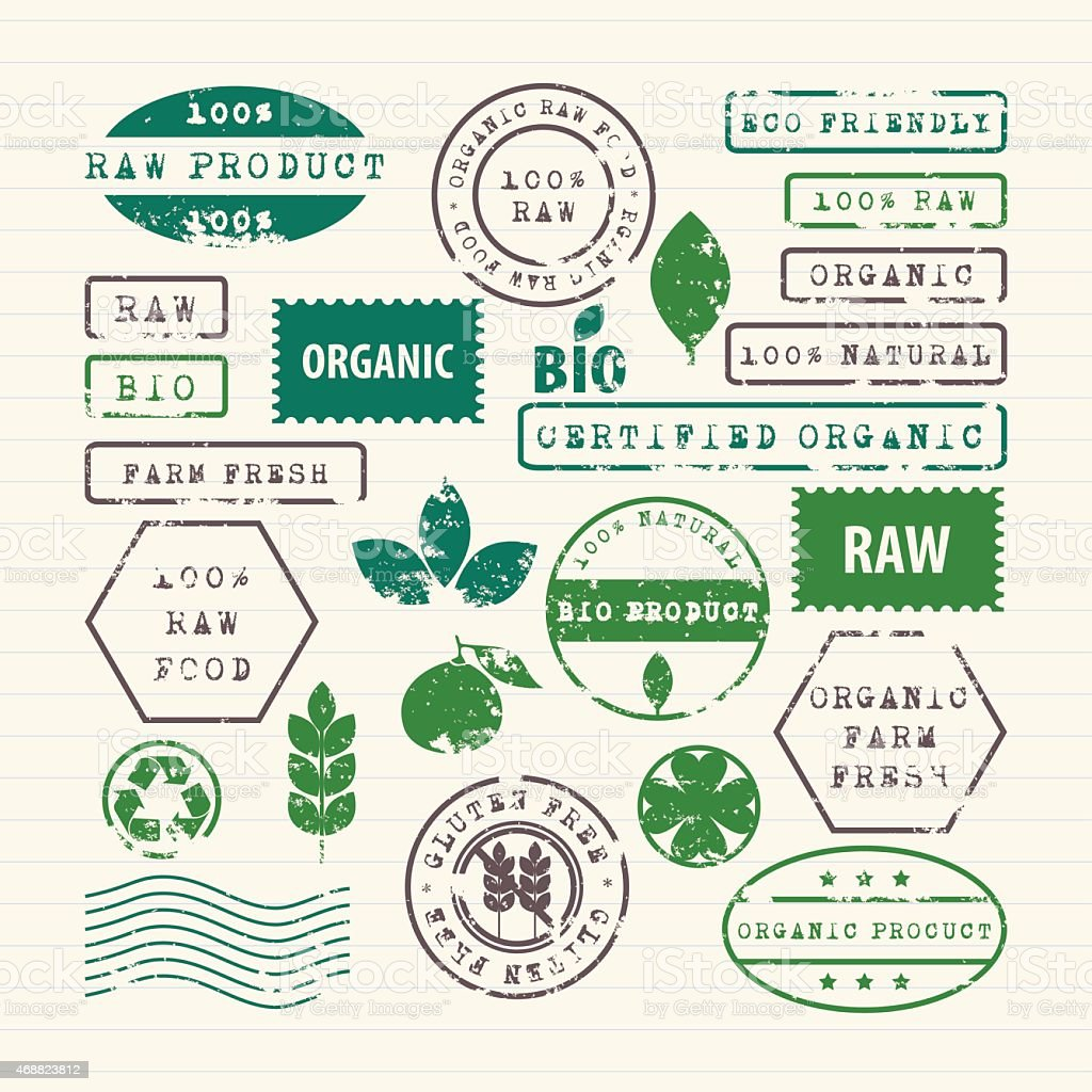 Rubber stamps set of ecology, healthy food and environment vector art illustration