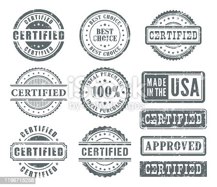 Vector illustration of the rubber stamps set.
