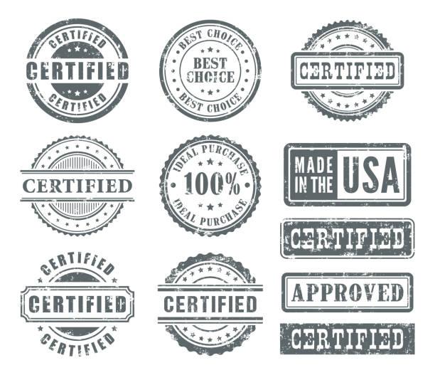 zestaw znaczków gumowych - pieczęć znaczek stock illustrations