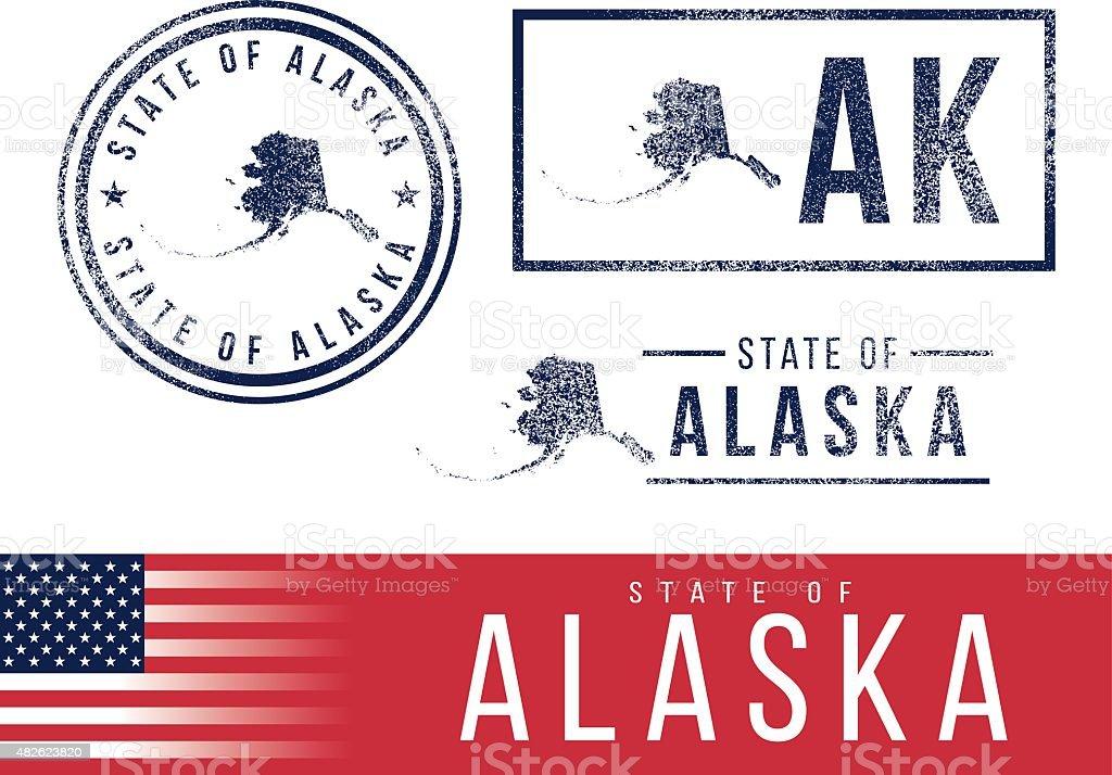USA rubber stamps - State of Alaska vector art illustration