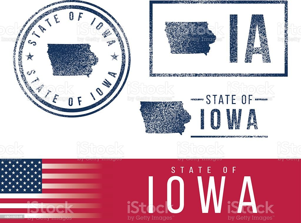 USA rubber stamps - State of Iowa vector art illustration