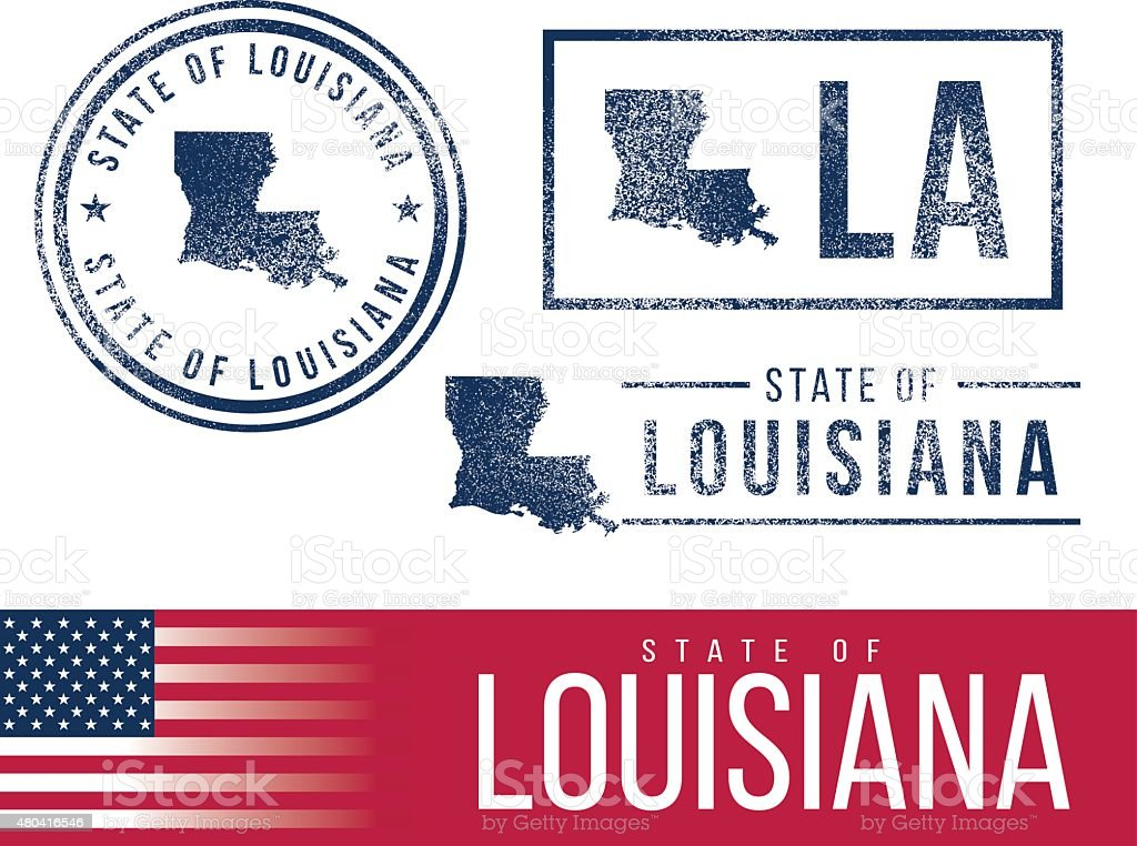 USA rubber stamps - State of Louisiana vector art illustration
