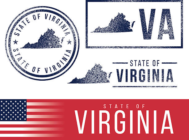 USA rubber stamps - State of Virginia vector art illustration