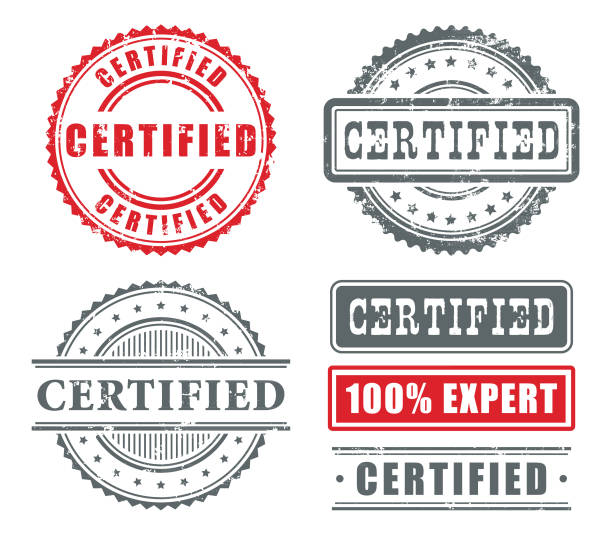 certyfikowane gumowe znaczki - pieczęć znaczek stock illustrations