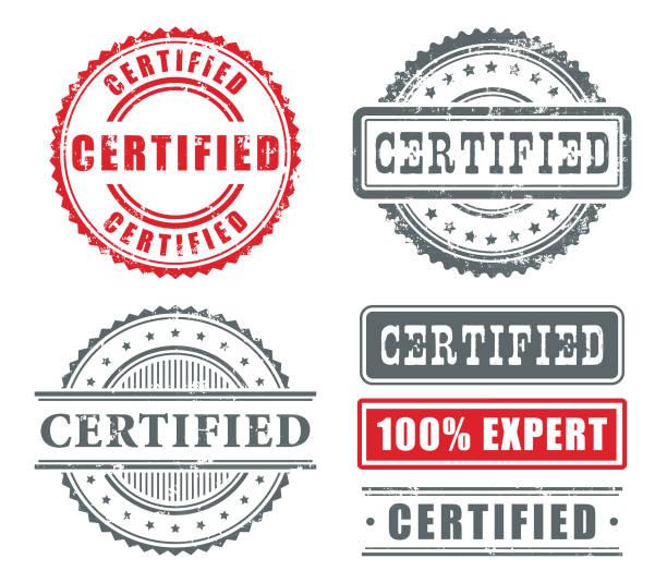 certified rubber stamps - pieczęć znaczek stock illustrations