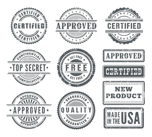 gumowe znaczki - pieczęć znaczek stock illustrations