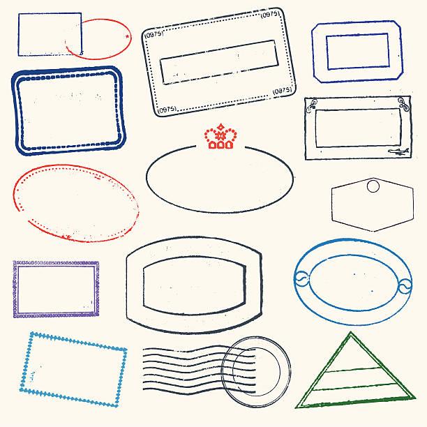 ilustraciones, imágenes clip art, dibujos animados e iconos de stock de sellos de goma - pasaporte y visa