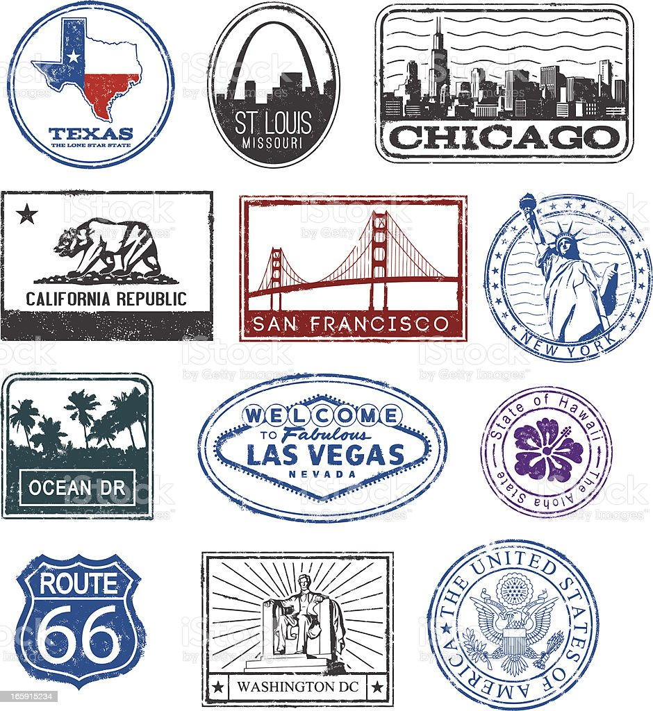 USA rubber stamps vector art illustration