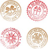 Vector image. Four grunge rubber stamps. Christmas & New Year.