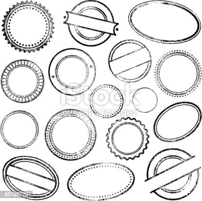 Set of empty circle and oval rubber stamps.