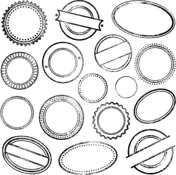 gumowa znaczki - pieczęć gumowa stock illustrations