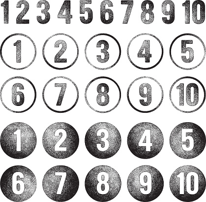 Numbers - grunge rubber stamps.