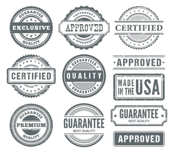 rubber stamps - pieczęć znaczek stock illustrations