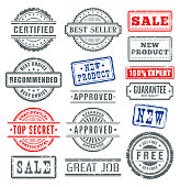 Vector illustration of the rubber stamps colletion.