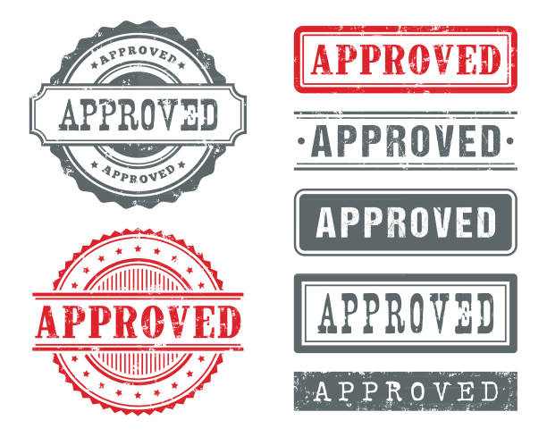 zatwierdzone gumowe znaczki - pieczęć znaczek stock illustrations