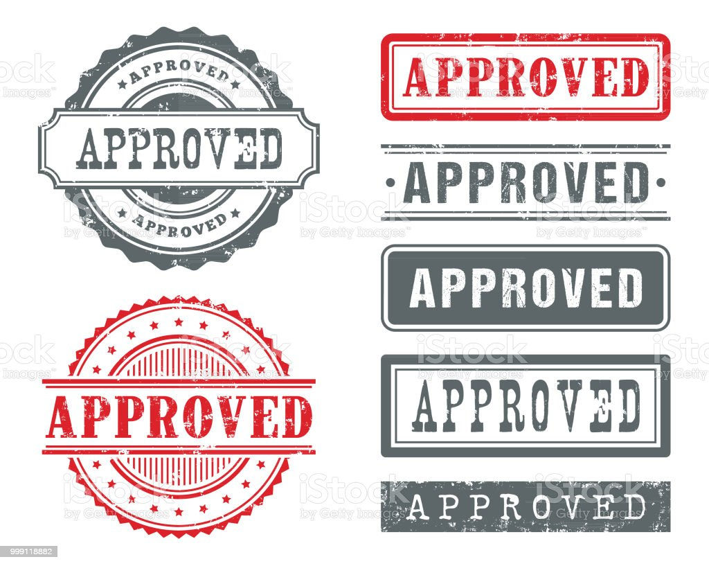 APPROVED Rubber Stamps vector art illustration