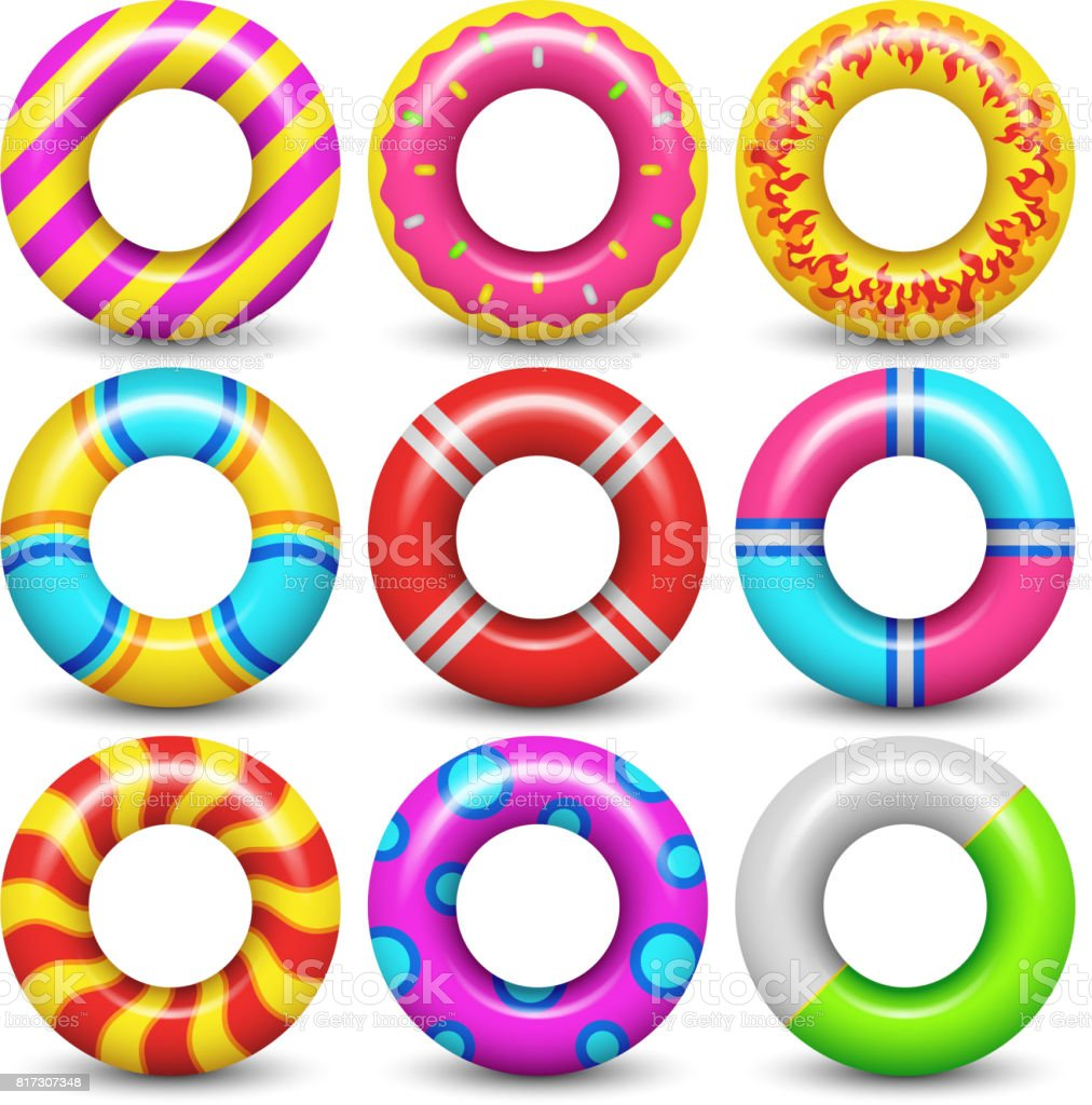 Rubber swimming ring isolated vector set vector art illustration
