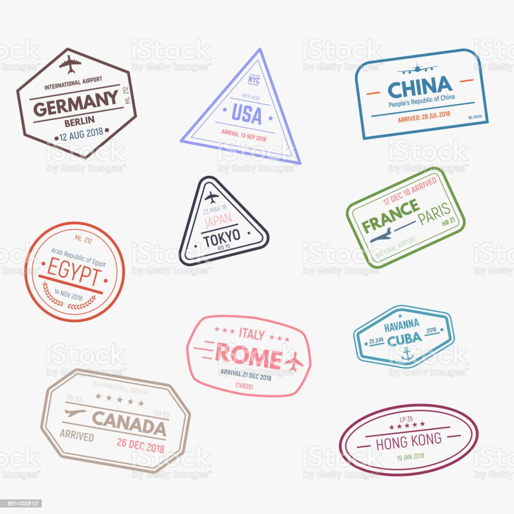Rubber visa stamps vector art illustration