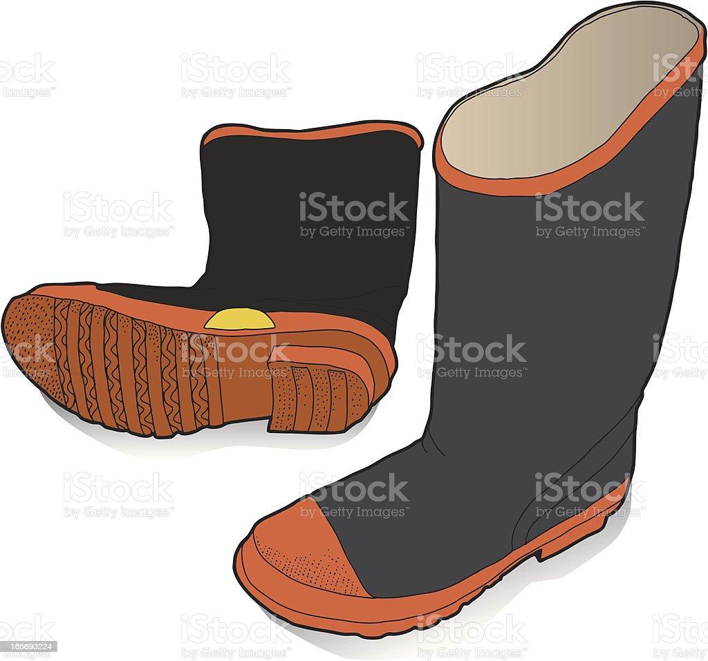 Rubber Work Boots vector art illustration