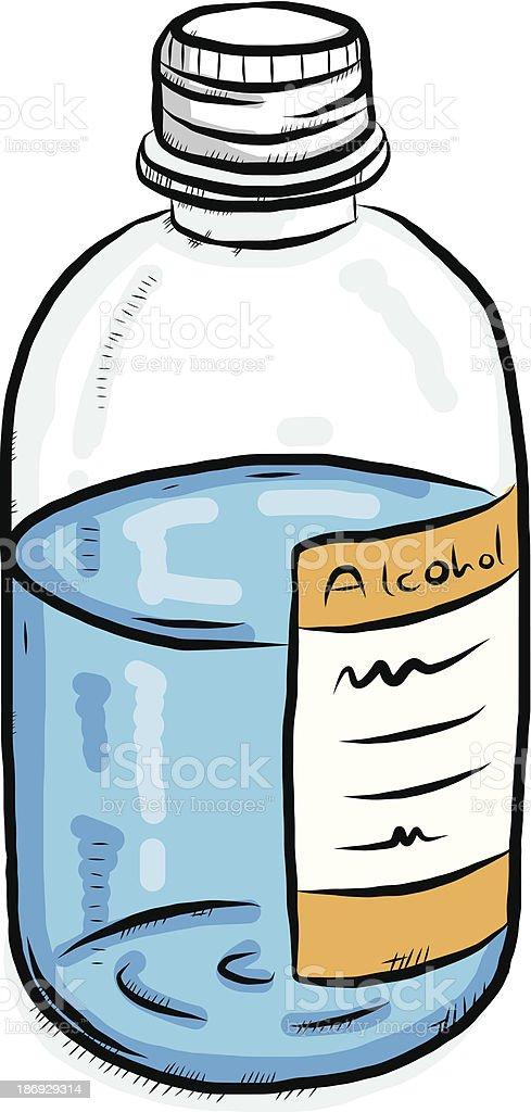 rubbing alcohol bottle vector art illustration