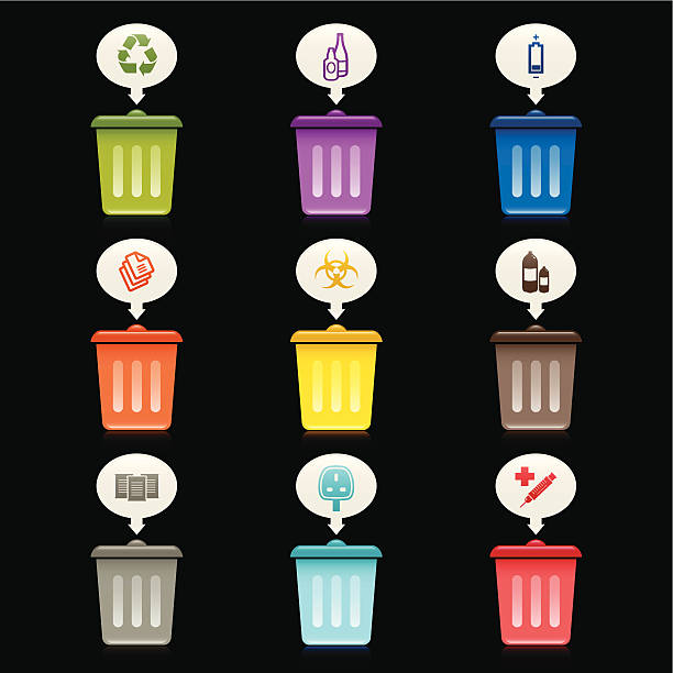 Rubbish Bin Icons Collection of Rubbish Bin icons for specific waste items. biohazardous substance stock illustrations
