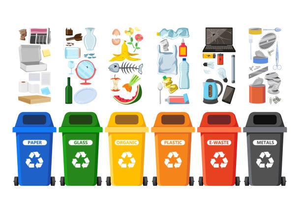 mülleimer für das recycling von verschiedenen arten von abfällen. müllcontainer vektor-infografiken - recycling stock-grafiken, -clipart, -cartoons und -symbole