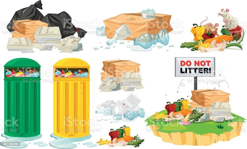 Lixo no chão e latas de lixo - ilustração de arte em vetor