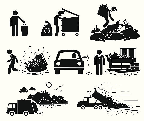Rubbish Trash Garbage Waste Dump Site Stick Figure Pictogram Icons vector art illustration