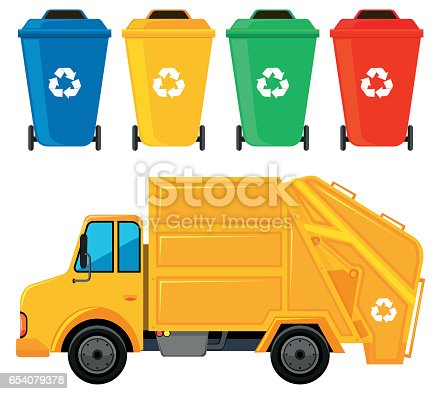 istock Rubbish truck in yellow color and four trashcans 654079378
