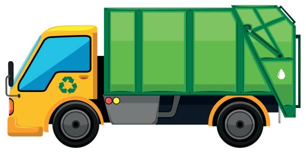 Rubbish Truck On White Background Vector Art Illustration