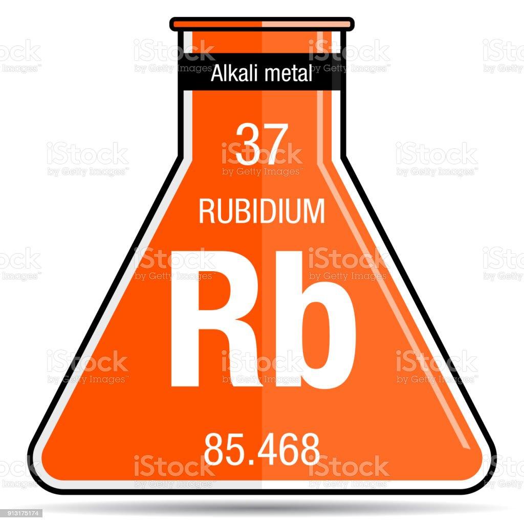 Rubidium Symbol On Chemical Flask Element Number 37 Of The Periodic